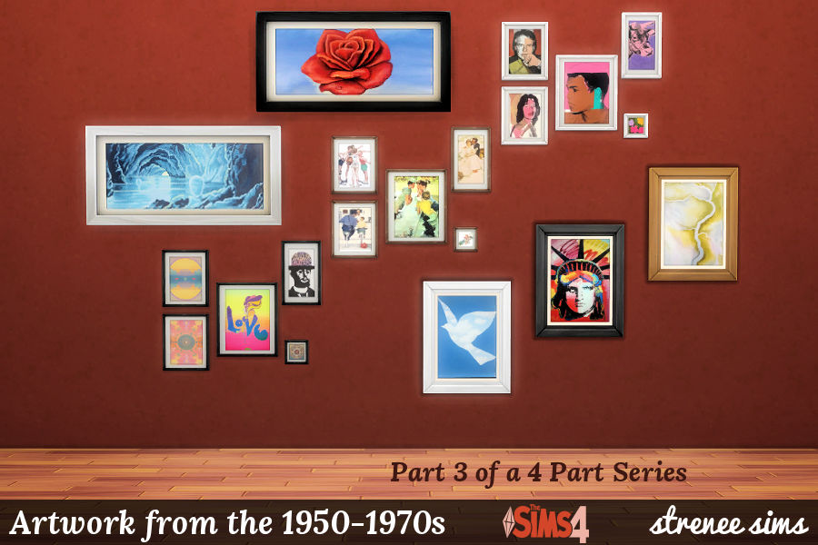 Artwork from the 1950-1970s | 63 prints in different styles to decorate with on the #Sims4 | #Sims4cc #Sims4art #ts4
