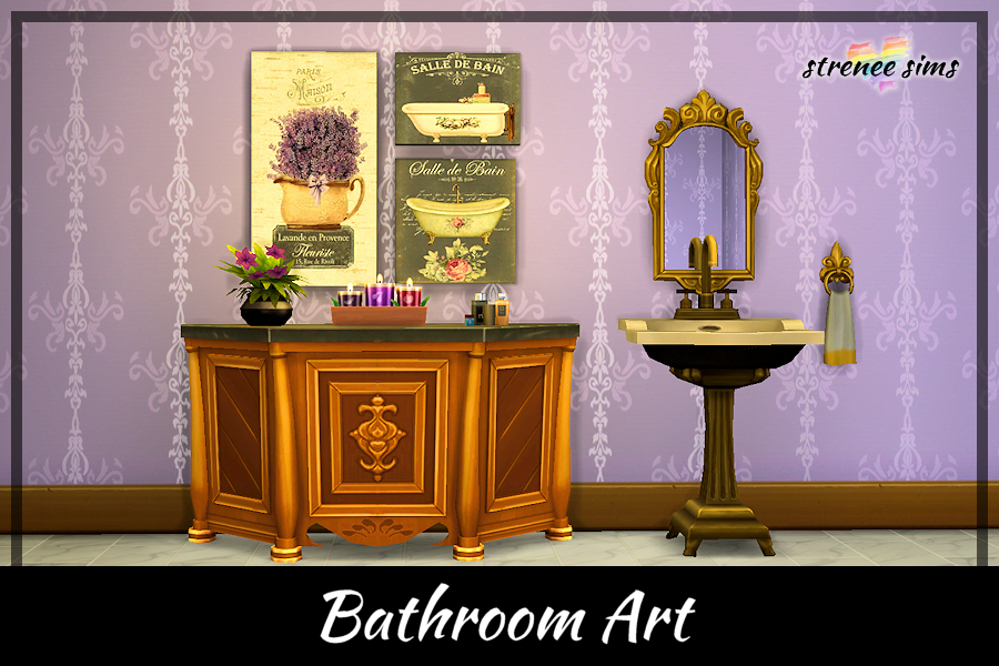 Bathroom Art Collection | Ten pretty collages that would be perfect for any bathroom #ts4 #sims4 #sims4cc | www.streneesims.com