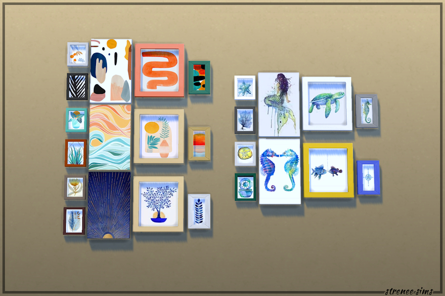 Collage Wall Art Sets   20 Contemporary sets of prints to decorate with #ts4 #sims4 #sims4cc   www.streneesims.com