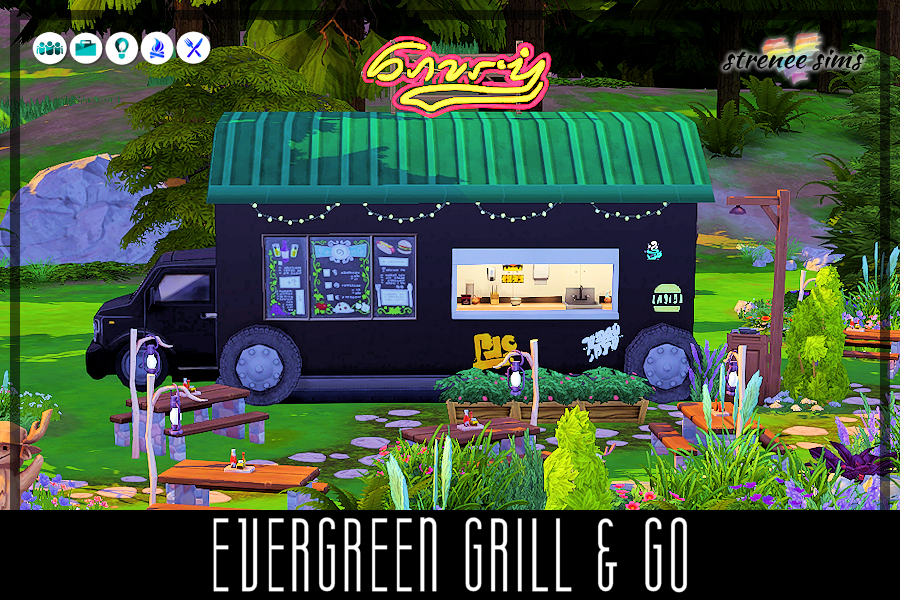 Evergreen Grill & Go | Dine in the great outdoors at this food truck in Granite Falls #dineout #sims4 #ts4 | www.streneesims.com