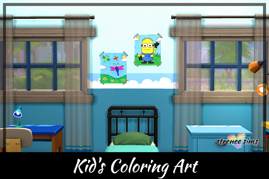 Kids Coloring Art Collection   24 Cute coloring pages to decorate with #ts4 #sims4 #sims4cc   www.streneesims.com