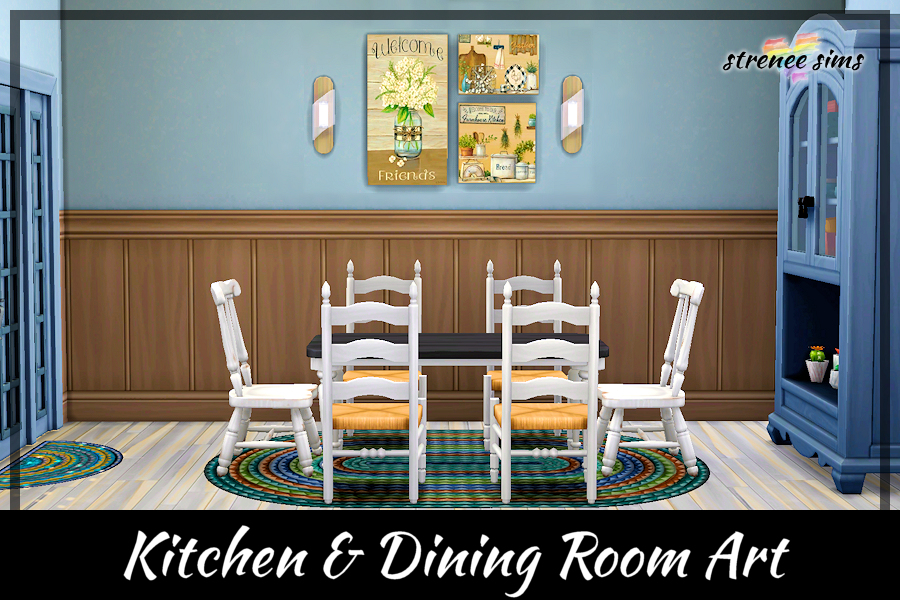 Kitchen & Dining Room Art Collection | 10 Coordinated collage pictures for use in your homes #ts4 #sims4 #sims4cc | www.streneesims.com