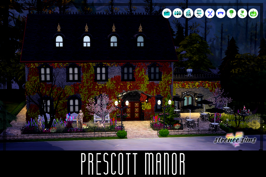 Prescott Manor - A Fine Dining Restaurant   Enjoy your dinner here.. if you dare. A banquet room and bar are available for your pleasure. #td4 #sims4 #sims4dineout   www.streneesims.com