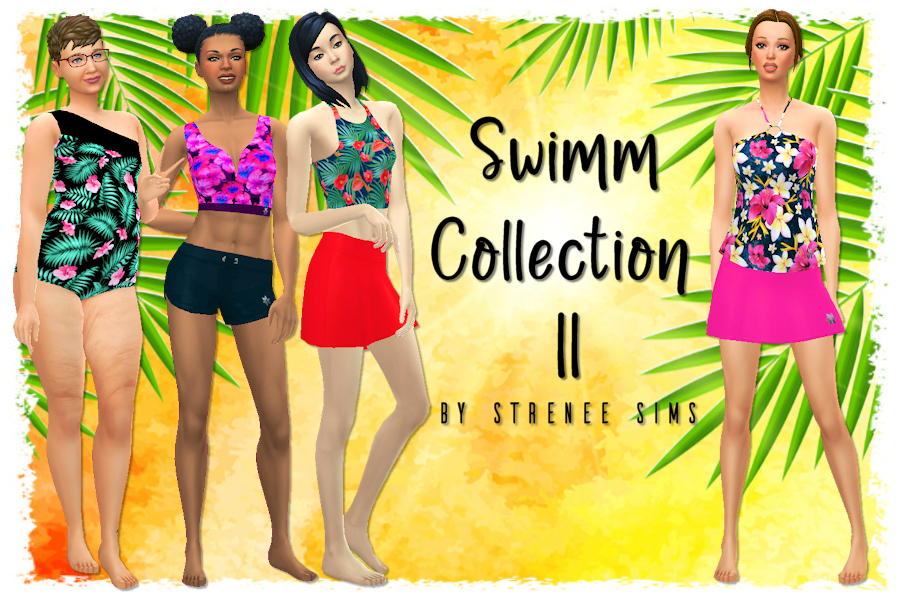 Swimm Collection II - A collection of swimwear for every body type with fuller coverage in mind #ts4 #sims4 #sims4cc   www.streneesims.com