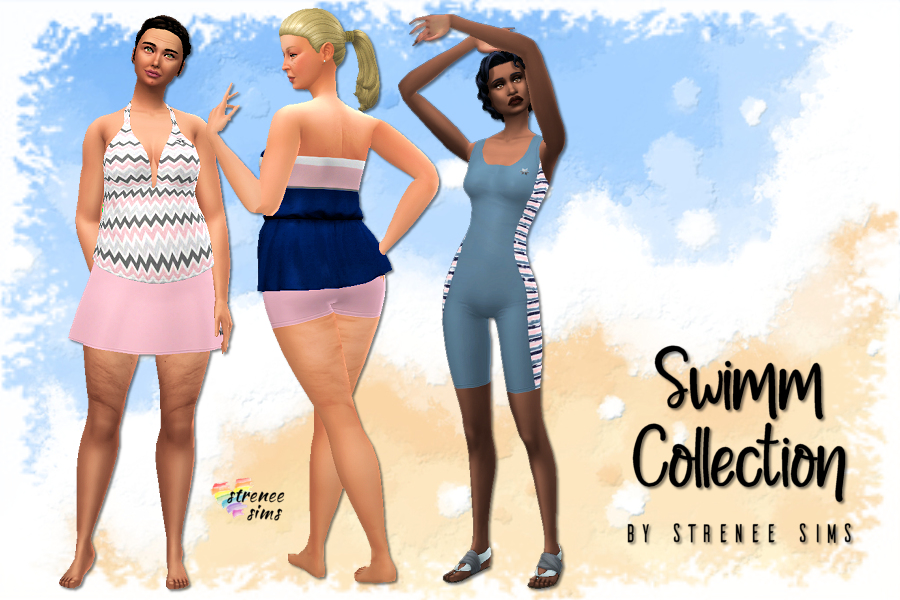 Swimm Collection - Swimwear for All Bodies| Body size inclusive swimwear for females of all sizes. #ts4 #sims4 | www.streneesims.com