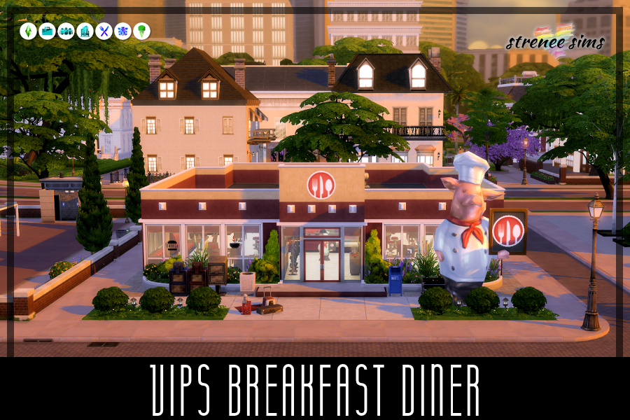 VIPs Diner | VIPs Diner is a family friendly breakfast restaurant for all Very Important Persons! #ts4 #sims4 #sims4dineout | www.streneesims.com