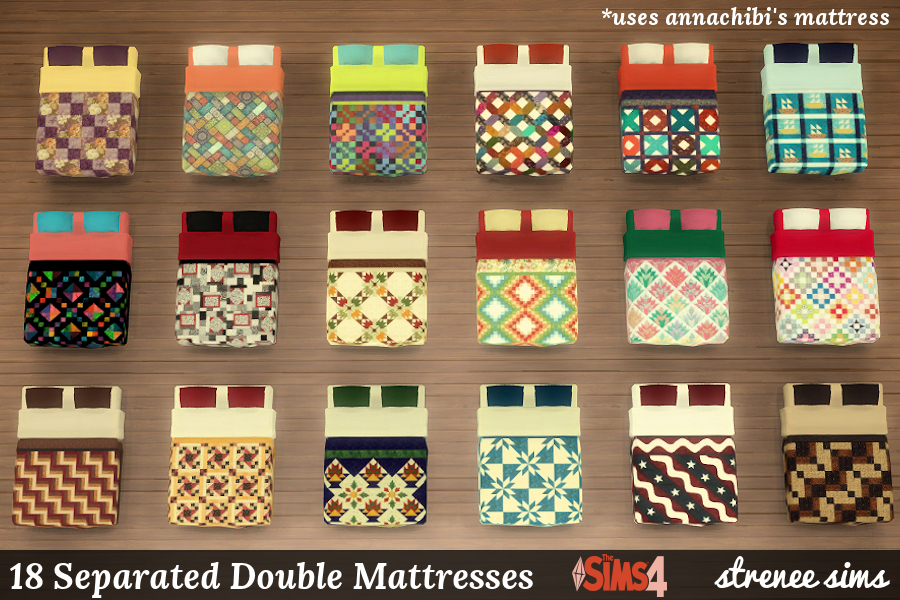 Quilted Bed and Separated Mattresses | 18 mattresses for use with the Parenthood metal bed or a separate bed | #sims4 #sim4parenthood