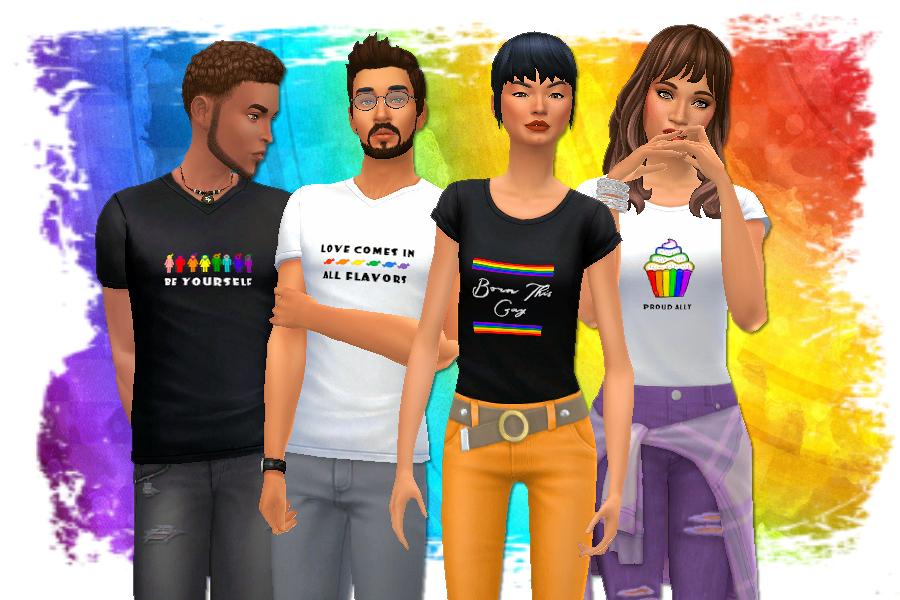 Love is Love Bonus T-Shirts | Show your pride with rainbow themed tees. #ts4 #sims4 #sims4cc | www.streneesims.com