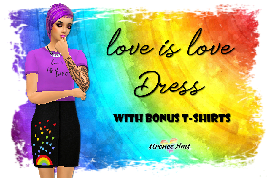 Love is Love Dress | Show your pride with rainbow themed dress. 15 Swatches available #ts4 #sims4 #sims4cc | www.streneesims.com