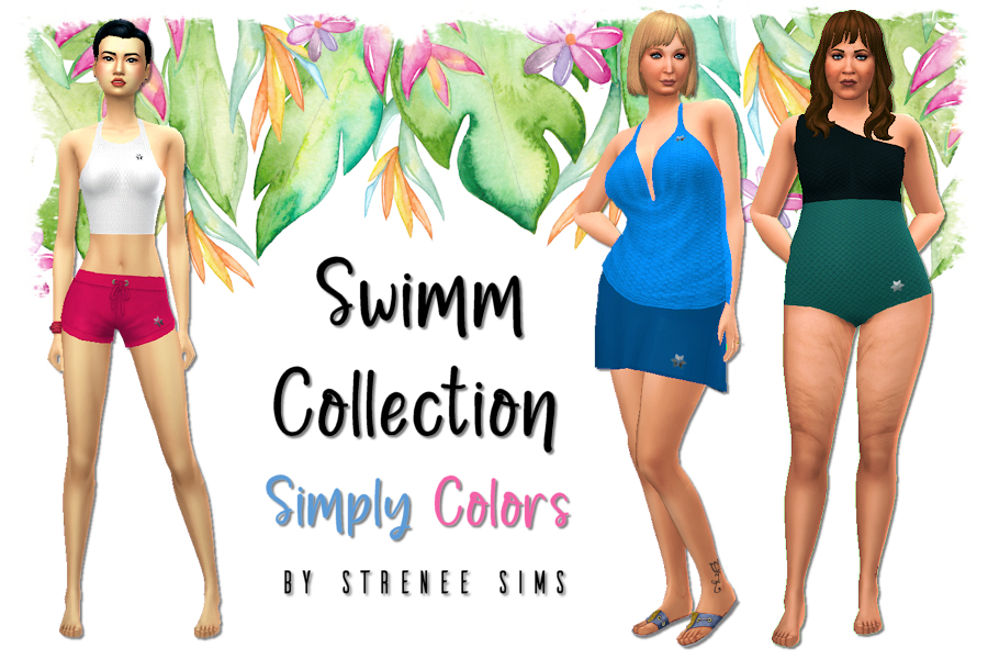 Swimm Collection: Simply Colors   Fuller coverage swimwear for all Sims body types #ts4 #sims4 #sims4cc   www.streneesims.com