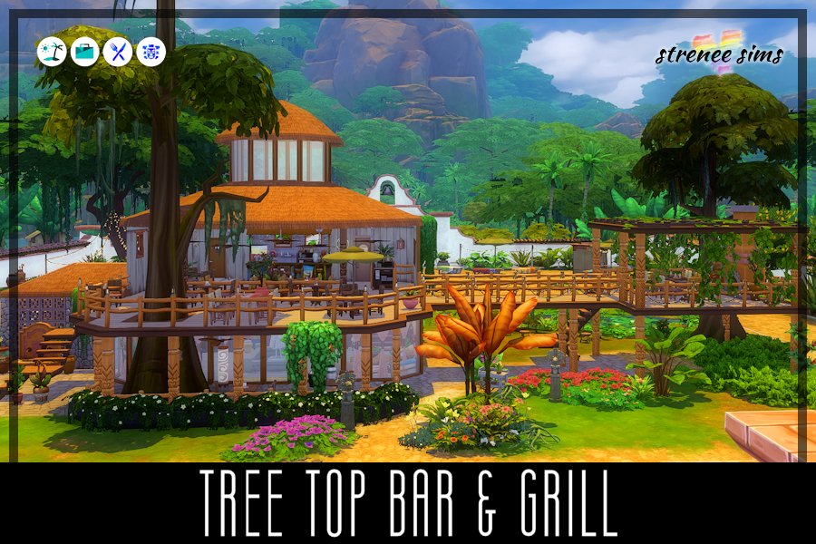 Tree Top Bar & Grill   Dine amongst the tree tops in this unique restaurant in a lush setting in the middle of a jungle. #ts4 #sims4 #sims4builds   www.streneesims.com